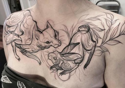Raposa e Coelho Esboço Tatuagens