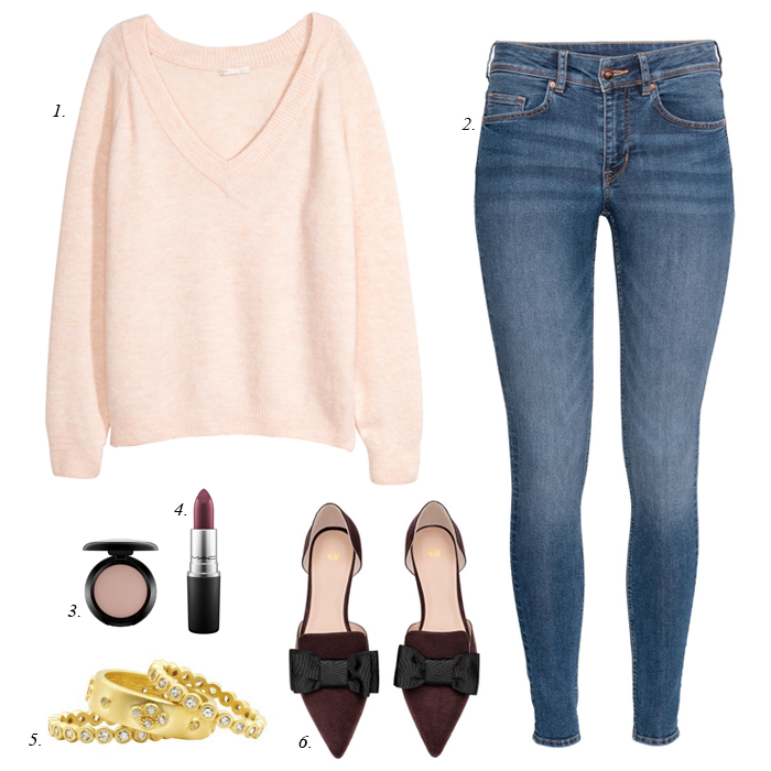 pink sweater burgundy mules
