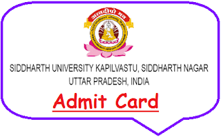 Siddharth University Admit Card 2019