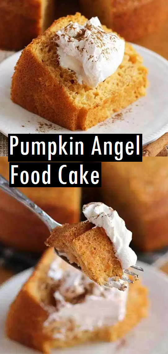 Best Pumpkin Angel Food Cake - Light, Airy Angel Food Cake with a Hint of Pumpkin! The perfect, quick and easy fall dessert! #pumpkin #angelfoodcake #cake #angelfood #cakerecipe #bestdessert #bestcake #bestrecipe #dessert