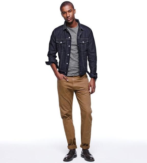 Áo khoác denim + quần màu be