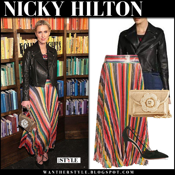 Nicky Hilton in black leather jacket and striped pleat skirt alice olivia front row fashion february 13
