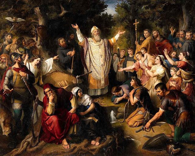 Após derrubar a árvore da superstição, São Bonifácio prega a verdadeira árvore da vida: Nosso Senhor Jesus Cristo.