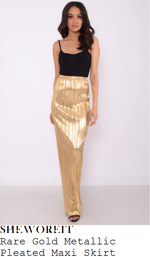 chloe-sims-rare-metallic-gold-high-waisted-textured-pleated-column-maxi-skirt