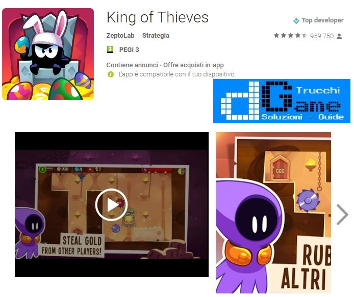 Soluzioni King of Thieves livello 51 52 53 54 55 56 57 58 59 60 | Trucchi e Walkthrough level