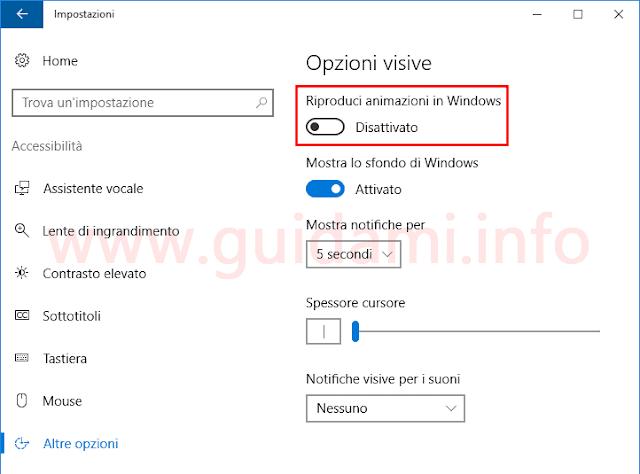 Windows 10 Impostazioni Disattiva animazioni in Windows