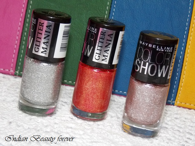 Maybelline Color Show Glitter Mania in Dazzling Diva, Red Carpet and Pink Champagne