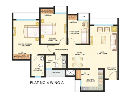 Dosti Desire Floor Plan 3 BHK