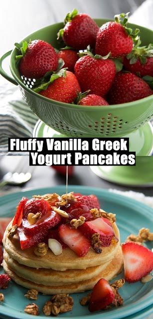 Yummy Fluffy Vanilla Greek Yogurt Pancakes Recipe