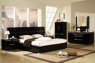 Ide desain Furniture kamar tidur mengkilap hitam