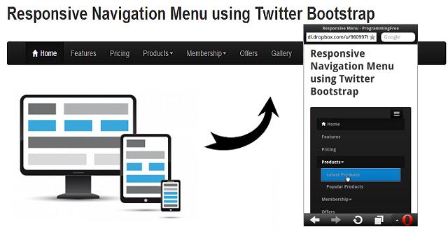 Responsive Navigation Menu using Twitter Bootstrap | ProgrammingFree
