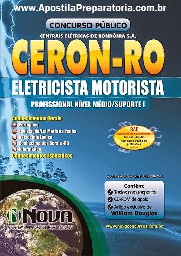Apostila Concurso Ceron Eletrobras Distribuição Rondônia 2014 cargo Eletricista Motorista.