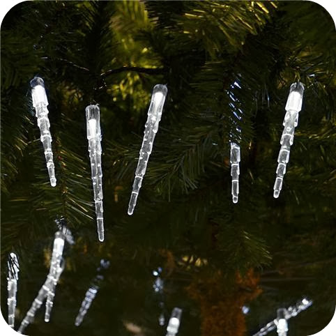 White Stores Icicle Lights for Outdoors