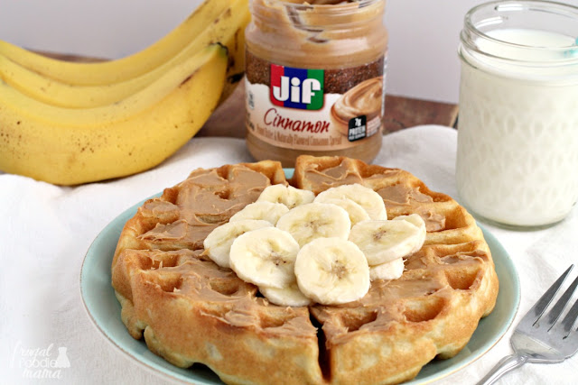 You all won't believe how incredibly easy it is to whip up these Easy Banana Cinnamon Peanut Butter Waffles.