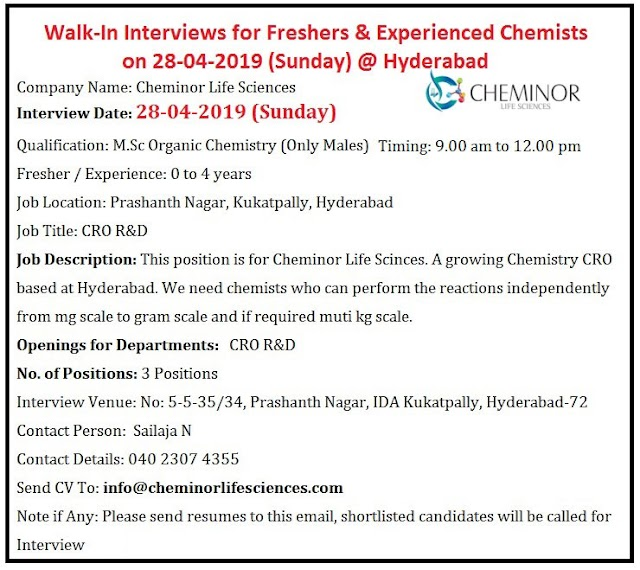 Cheminor Life Sciences - Walk-In Interview for Freshers - Experienced  on 28th Apr' 2019