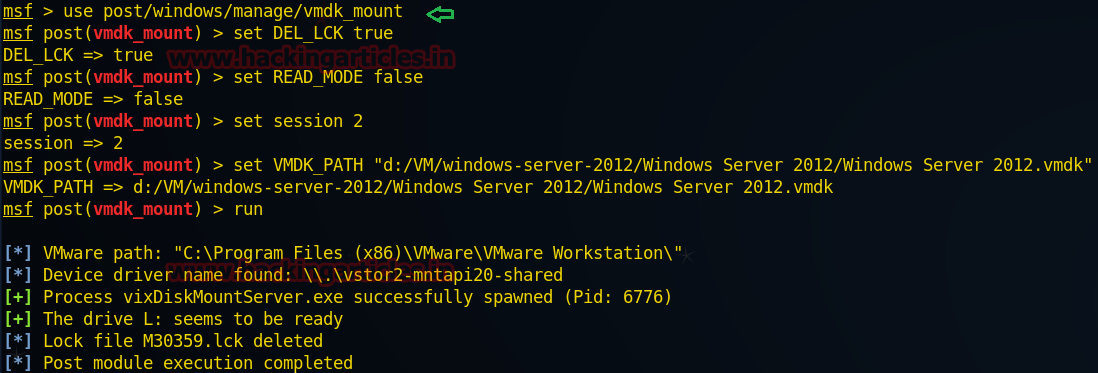 Post Exploitation in VMware Files with Meterpreter