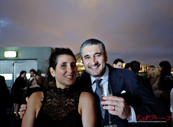 Vincenzo Prosperi and friend, rooftop night portrait from the MCA with the Sydney Opera House in the background, Connect Italy 2017, Sydney, Australia. Street Fashion Sydney by Kent Johnson.