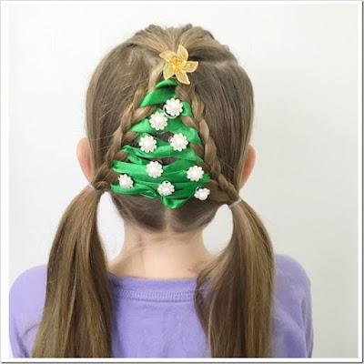peinado de navidad para niñas con forma de arbol