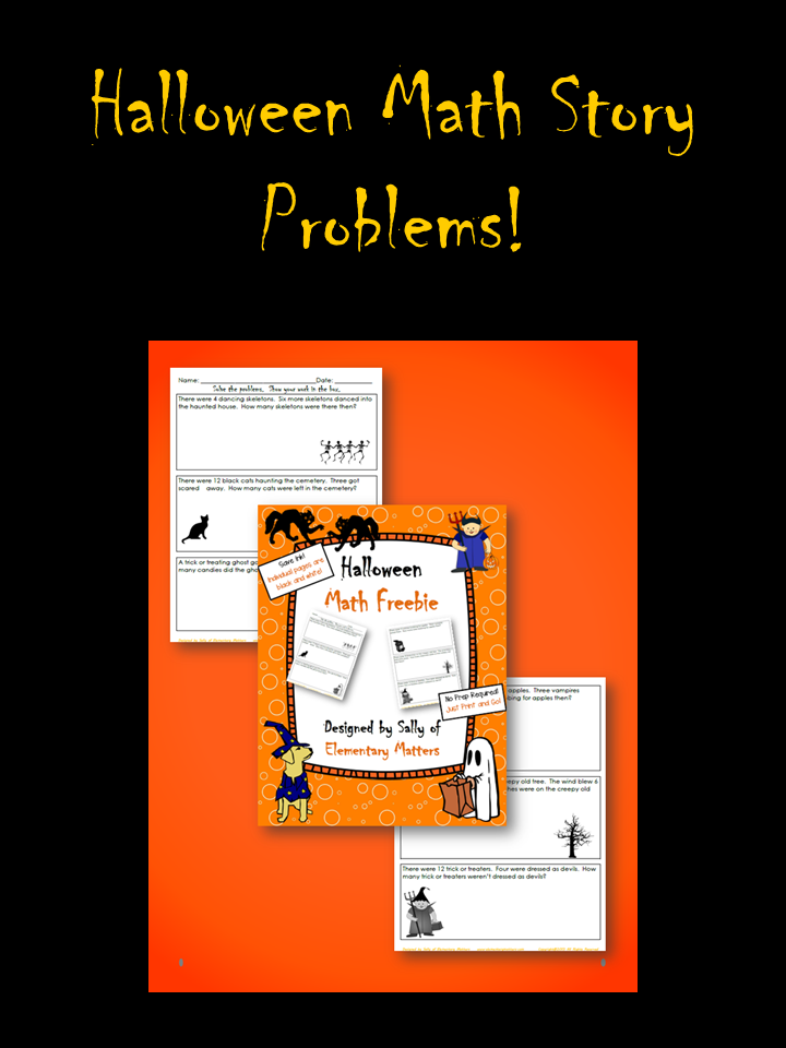 Halloween Math Story Problems Freebie for Second Grade