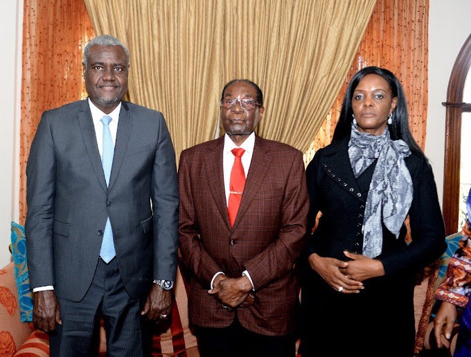 Picture of Mugabe, wife Grace and AU's Faki goes viral on social media