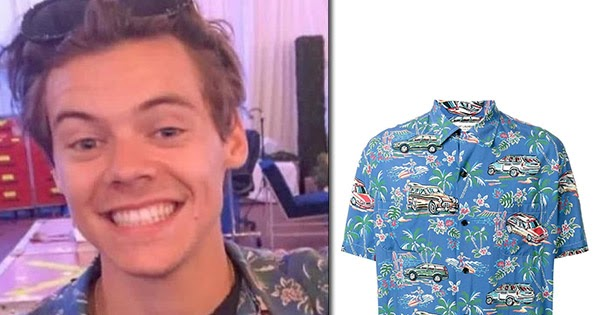 e7632076 Harry Styles in blue Hawaiian print shirt from Saint Laurent ~ Steal His  Outfit