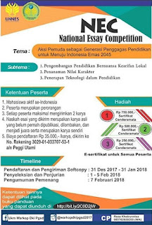 Lomba National Essay Competition (NEC) 2018 by UNNES