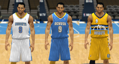 NBA 2K13 Denver Nuggets 2013 Jerseys - Home, Away, Alternate Patch