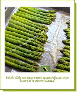 Vie quotidienne de FLaure : Salade tiède asperges vertes, mozzarella, poitrine fumée et roquette