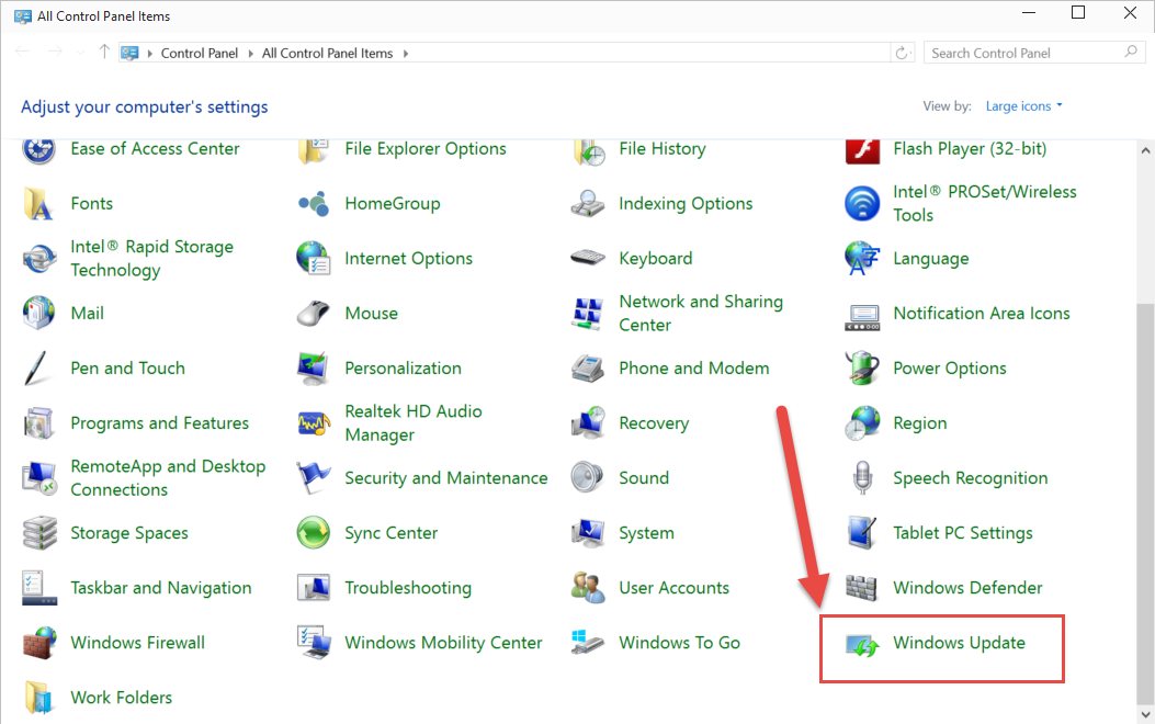 Windows Update missing from the     - Microsoft System Center Suite