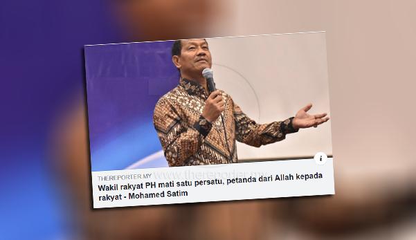 'Dah takdir Ilahi, kebetulan wakil rakyat PH yang meninggal, salah ke?' - Satim mohon maaf atas kenyataan sensitif