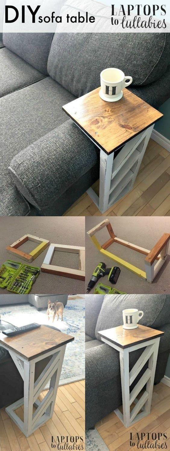 Sobras de madeira rendem muitos objetos para casa. Uma delas é esta mesinha para sofá que pode apoiar copos ou controle remotos.