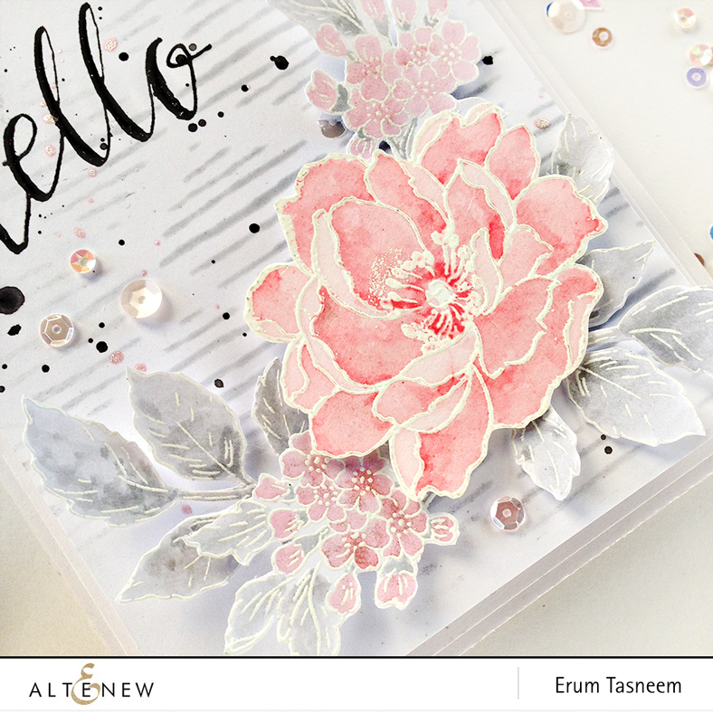 Altenew Beautiful Day stamp set watercolored using Frosty Pink Metallic Shimmer Spray. Background created using Sketched Lines stencil. Greeting from the Halftone Hello stamp set by @pr0digy0