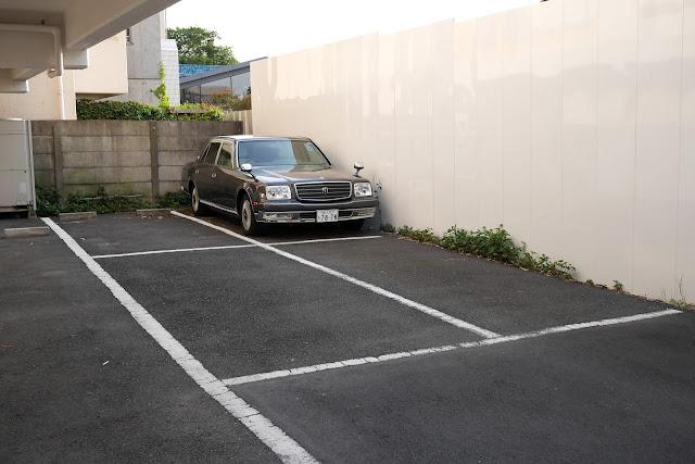 vintage grey car in tokyo
