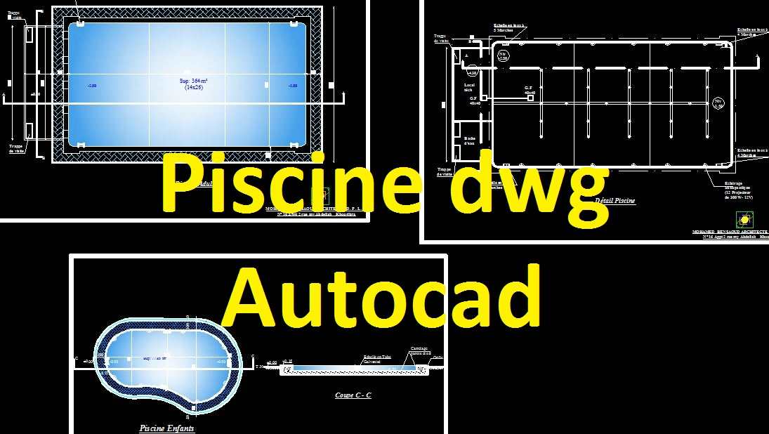 piscine dwg autocad example cours g nie civil outils livres exercices et vid os. Black Bedroom Furniture Sets. Home Design Ideas