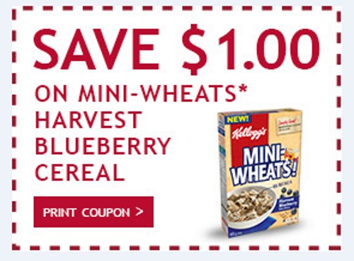 Websaver Kelloggs Mini Wheat Harveset Blueberry Cereal Coupon