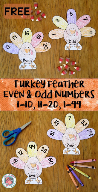 This is a free turkey themed resource for sorting even and odd numbers 1-10, 11-20, or 1-99 in first and second grade.
