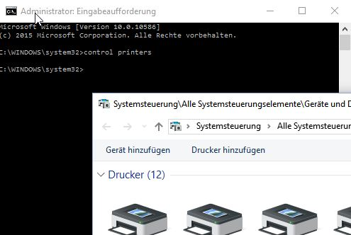 network printer error windows 10