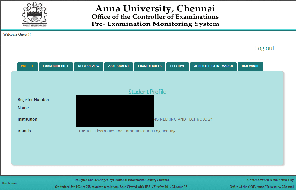 Anna university students login - Anna university result coe1,coe2