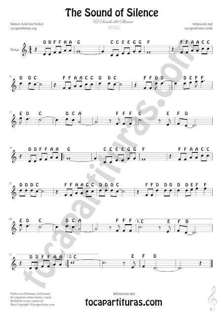 El Sonido del Silencio (Notas Nomenclatura Inglesa) The Sound of Silence Easy Sheet Notes for Treble Clef, Violin, Saxophones, Trumpets, Flute, Recorder, Clarinet...