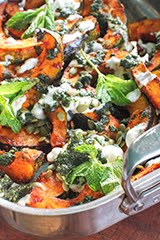 Roasted Winter Squash w/ Rose Harissa, Mint Sauce, Pumpkin Seeds and Non-Dairy Yogurt
