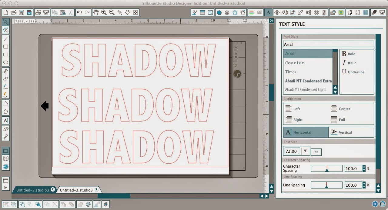Silhouette Studio, shadow tutorial, text