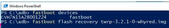 fastboot flash recovery twrp-3.2.1-0-whyred