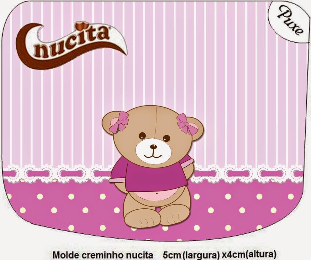 Etiqueta Nucita de Osita en Fondo Lila para imprimir gratis.