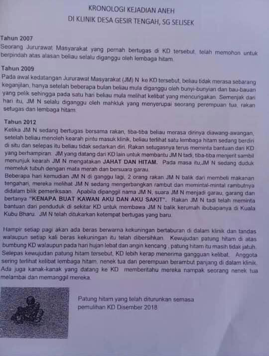 Kronologi gangguan makhluk halus di Klinik Desa Hulu Selangor