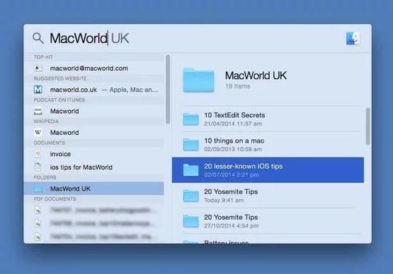 Look inside Folders in Spotlight