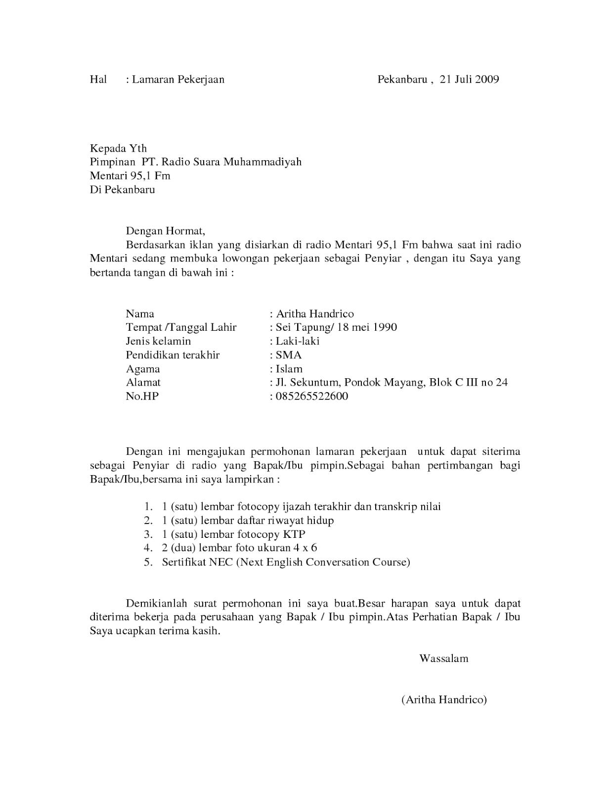 contoh surat lamaran kerja sebagai penyiar radio ben jobs