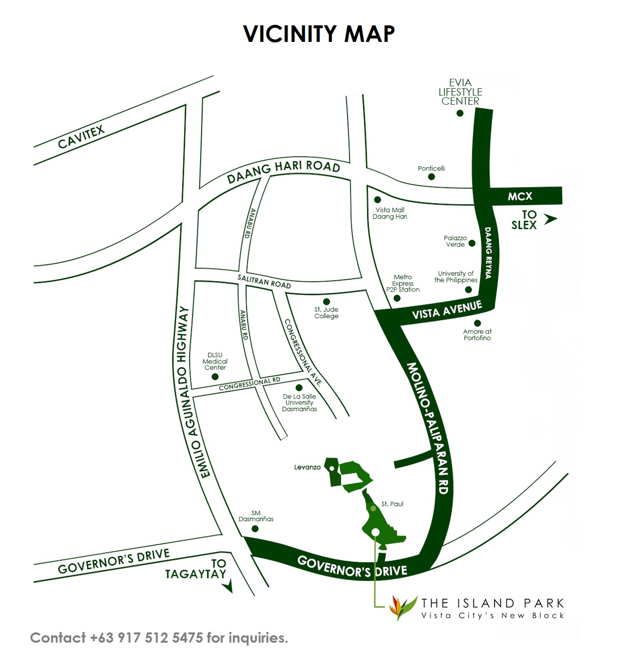 Vicinity Map Location Levanzo at The Island Park - Designer 166 Sf | Crown Asia Prime House for Sale Dasmarinas Cavite