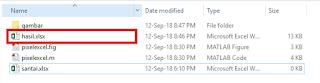Menyimpan Nilai Piksel Gambar ke File Excel