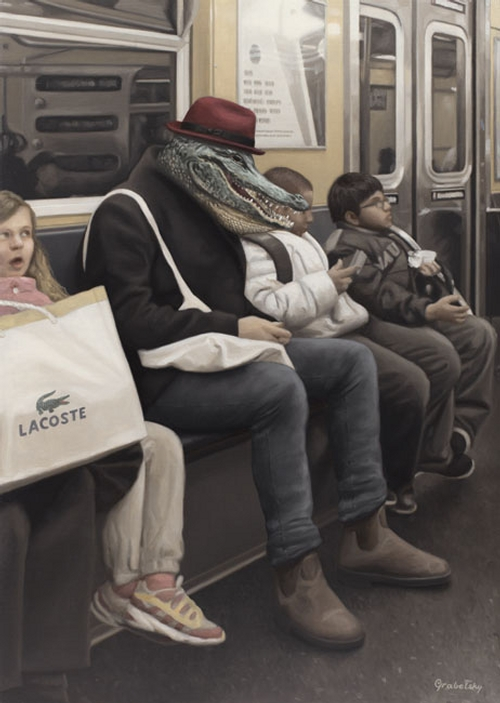 11-I-Spy-The-Alligator-Man-Matthew-Grabelsky-Paintings-of-Animal-Human-Hybrids-on-the-Subway-www-designstack-co