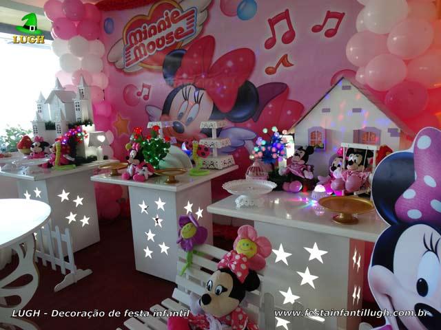 Decoração festa Minnie rosa - Mesa de aniversário infantil